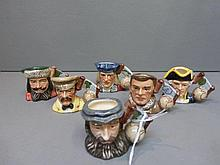 Six Royal Doulton miniature character jugs: Marco