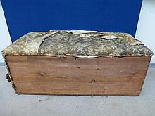 A large Victorian pine blanket box with