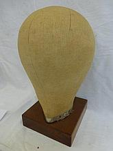 A 20th Century wig stand mounted on a mahogany