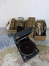 A Columbia wind-up gramophone and accessories