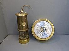 A reproduction brass Welsh miner's lamp and a