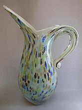 A decorative glass jug.