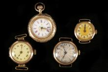 A late 19th century 14ct gold ladies fob watch, with gilt embellished porcelain dial and engraved case, sold together with three early 20th century 9ct gold cased transitional wristwatches (4).