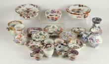 MASON'S PATENT IRONSTONE AND OTHER CHINA: An assorted collection of china in various patterns, to include two sponge dishes and covers, three soap dishes and covers, various teaware decorated with oriental figures within pink scale borders, two rectangular soap dishes with pierced liners, a bowl, vases, a small Meissen jug in the 'Blue Onion' pattern, etc. (Qty)