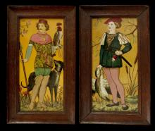 A RARE PAIR OF MINTON'S ART POTTERY PLAQUES, circa 1875, both depicting a hunter in medieval costume on a mustard yellow ground, one holding a hooded falcon in his left hand and a spear in his right, his dog by his side, the other holding a dead goose in his right hand, his left on a dagger by his side, 30.5 x 15cm, both marked 'Minton's China Works Stoke on Trent' and 'Made in England' to reverse, mounted in oak frames (2)   FOOTNOTES: For an identical but slightly larger pair of plaques, see that offered at Sotheby's Olympia, 5 April 2006, lot 14.