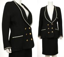 CHANEL SKIRT SUIT, 1990s, black wool with smart white trim and gilt buttons, double breasted blazer and pencil skirt, size 40 (2)