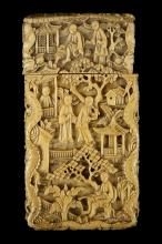 A CHINESE CANTON CARVED IVORY CALLING CARD CASE. Qing Dynasty, 19th Century. Carved with figurative garden scenes enclosed within dragon borders, 9 x 5cm. Provenance: John Marriott (1921-2007) and Count R. L. Sangorski (1940-2014) Collection. ??