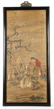 A CHINESE PAINTING.   Qing Dynasty.   Depicting a seated figure holding a basket of flowers, another behind holding a flower, framed and glazed, 111 x 37cm   ?? ?????
