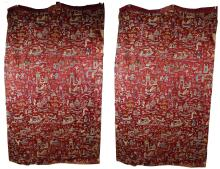 A PAIR OF CHINESE CURTAIN TEXTILES.   Qing Dynasty.   Embroidered with figurative scenes, boats and garden architecture on a red silk ground, 252 x 150cm. (2)   ?? ??????????