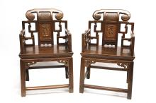 A PAIR OF CHINESE ZHAZHENMU CHAIRS. Late Qing Dynasty, 19th Century. The arms with an open latticework design, the backsplats with two panels one with figures, the other with fruits, 94cm H. (2) Provenance: Private Collection, acquired in 1991. ??