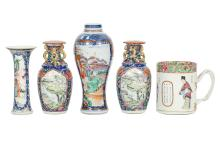 A COLLECTION OF FIVE CHINESE CERAMICS.     Qing Dynasty.     11 ? 21cm H. (5)      ?? ????