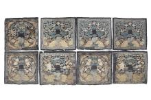 EIGHT CHINESE EMBROIDERED RANK BADGES.     Qing Dynasty.     (8)      ?? ????????