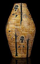 MARCELLO FANTONI, ITALY -  A 1950's CERAMIC VASE, incised with Figure Nere decoration on mustard ground, and turquoise interior, signed Fantoni, Italy under, bearing Harrods paper label, (48.5cm high).     Note: The decoration on the coat of one of the figures looks remarkably like the Harrods 'H' logo. This, along with the Harrods paper label under, possibly indicates that the vase was commissioned by Harrods for sale in their store.