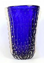 ECOLE BAROVIER FOR BAROVIER & TOSSO, ITALY - A MARINA GEMMATA VASE, circa 1950, blue clear cased glass with pinched column having gold inclusions, (38cm high)