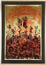 MARTIN SHARP (AUSTRALIAN 1942-2013),'LEGALISE CANNABIS, THE PUTTING TOGETHER OF THE HEADS', originalrally poster for a gathering atSpeaker's Corner, Hyde Park , July 16 1967, screenprint on gold foil ground, produced by Big O posters London, (75 x 50cm)