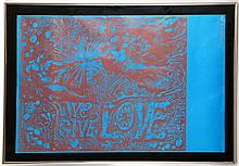 MARTIN SHARP (AUSTRALIAN 1942-2013), ORIGINAL 1968 'LIVE, GIVE, LOVE' POSTER, offset lithograph in red ink on blue paper,printed by Big O Posters, BAT8407, (50 x 75cm).   Note: The original hand drawn design, inspired by Michelangelo's Sistine Chapel fresco, was produced as a companion piece for the Cream album cover Wheels of Fire. This version on blue paper was produced to be back lit.