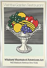 ROY LICHTENSTEIN (1923-1997), 'VISIT THE GARDEN RESTAURANT', original 1983 Whitney Museum of American Art promotional screenprint poster, featuring 'Still Life with Crystal Bowl' 1973, (114 x 79cm inc. frame)