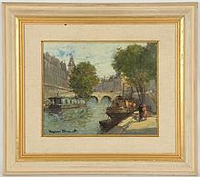 EUGENIO DUMONT ALVAREZ (SPANISH 1864-1927), untitled, early 20th century, river view with bridge, oil on canvas, signed, (22 x 27cm)