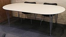 ARNE JACOBSEN FOR FRITZ HANSEN - FOUR SERIES 7 DINING CHAIRS, with grey upholstery, together with a Super Ellipse style extending table, white lacquered top, on chrome legs, maker's marks under chairs, (table; 160cm + 50cm ext. leaf x 110cm wide)