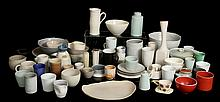 A LARGE COLLECTION OF MID 20TH CENTURY AND LATER STUDIO POTTERY - a varied selection of pots, vases and other items, to include two small vessels with overstrung lids, and two bowls with grey glaze, mostly unmarked or indistinctly signed.