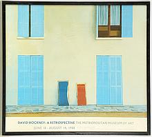 DAVID HOCKNEY: A RETROSPECTIVE, at the Metropolitan Museum of Art, 1988, exhibition poster, (78 x 87cm inc. frame), together with, The 2nd Contemporary Art Fair, London Olympia, 1985, exhibition poster, (73 x 53cm inc. frame)