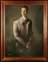 FRANK SERRANO (ATTR) (AMERICAN, b.1967), untitled, male portrait, oil on canvas, signed, (117 x 89cm inc. frame)
