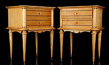 A PAIR OF 1950's FRENCH BEDSIDE TABLES - in beech wood with ebony banding and mirrored tops, (46 x 37 x 60cm high)