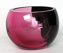 BISAZZA VETRO, MURANO, ITALY - a late 20th century pink and dark purple vase, etched with maker's mark under, and dated 1992, (18cm high)