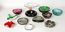 A COLLECTION OF MURANO GLASS BOWLS AND ASHTRAYS - mid 20th century and later, to include a smoked glass dish by Barbini.