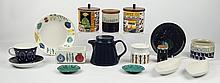 A SELECTION OF MID 20TH CENTURY SCANDINAVIAN CERAMICS - to include, Gustavsberg fish form dishes, Nitsjo, Rorstrand, biscuit barrels and other items.