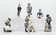 ROYAL COPENHAGEN, DENMARK - six 1960's ceramic figural groups, maker's marks under, (tallest; 24cm high)