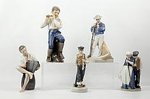 ROYAL COPENHAGEN, DENMARK - six 1960's ceramic child figures, maker's marks under, (tallest; 18.5cm high)