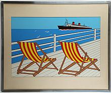 ERIK DRUMMOND (BRITISH), 'BON VOYAGE', mid 20th century screen print, signed, titled and numbered, 6/500, (80 x 95cm inc. frame)