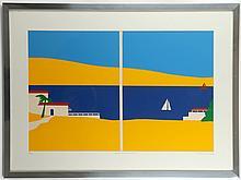 ERIK DRUMMOND (BRITISH), 'ISLAND RETREAT - SCENE I', mid 20th century screen print, signed, titled and numbered, 33/100, (56 x 77cm inc. frame)