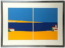 ERIK DRUMMOND (BRITISH), 'ISLAND RETREAT - SCENE II', mid 20th century screen print, signed, titled and numbered, 33/100, (56 x 77cm inc. frame)