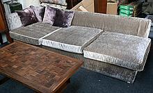 ANTONIO CITTERIO for B & B Italia, an Apta sofa section, in mink velvet, bearing maker's label (271 x 100cm).