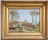 After Camille Pissarro 1830-1903, French, 'Village de Voisins', a good decorative oil on canvas reproduction. With nameplate and presented in a giltwood frame, 40 x 50cm., Camille Pissarro, £200