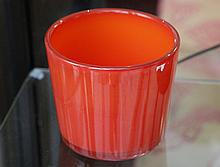 SVEND PALMQVIST for ORREFORS, a red cased glass vase, possibly an exhibition piece, bears gold foil label, (13.5 diam.)