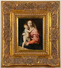 Unsigned, 20th century, painting study of a Renaissance mother and child in swaddling cloth, oil, 23.5 x 18.5cm.