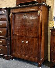 A French Empire, late 19th century secretaire abbatant, black variegated marble above single drawer, brass crested leaf to shoulders flanking a fall front with brass swan escutcheon, flame walnut body revealing 5 drawers with arched vault open area,