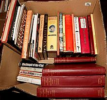 A large selection of books, various military