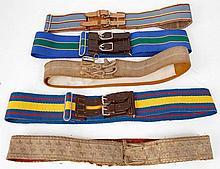 Two Officers' dress gilt brocade parade belts,