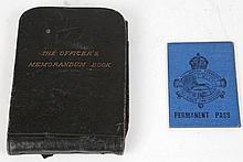 An Officer's black leather memorandum book for