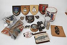Regimental plaques, games, shell nose cones, and