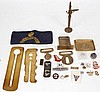 Military badges, brass stable belt clasp and other