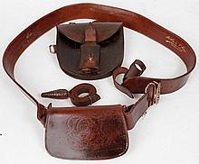 An Officer's World War I brown leather belt with