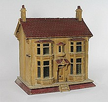 A wooden dolls' house of two storeys, 71cm (28'')