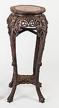 A Chinese hardwood jardiniere stand with wavy marble top on simulated bamboo carved legs, 92cm high/see illustration