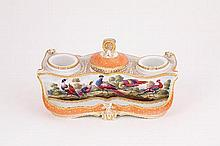 A Worcester (Barr) inkstand, circa 1810, painted with exotic birds, the apricot ground gilt with dot