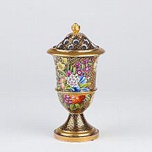A Spode pot pourri vase and cover, decorated flowers on a cobalt blue and gilt-scale ground, 17cm hi